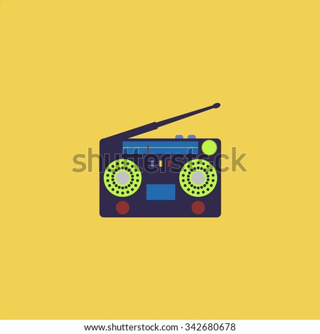 Classic 80s boombox. Colorful retro flat icon - stock photo