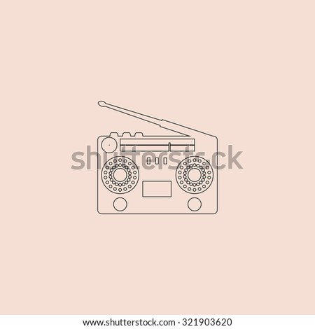 Classic 80s boombox. Outline icon. Simple flat pictogram on pink background - stock photo