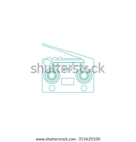 Classic 80s boombox. Outline symbol on white background. Simple line icon - stock photo