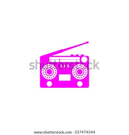 Classic 80s boombox. Pink icon on white background. Flat pictograph - stock photo