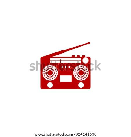 Classic 80s boombox. Red flat icon. Illustration symbol on white background - stock photo