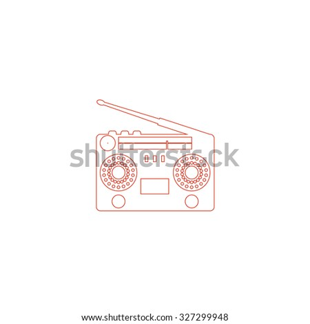 Classic 80s boombox. Red outline illustration pictogram on white background. Flat simple icon - stock photo