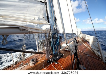 Classic sailboat in open waters. Details of deck. - stock photo