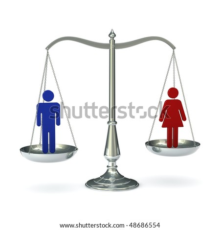 classic scales of justice with abstract male and female figures, isolated on white background - stock photo