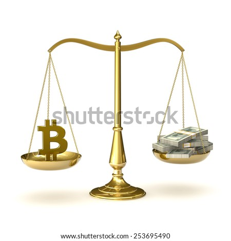 Classic scales of justice with bitcoin symbol and packs of hundred dollar bills, isolated on white background