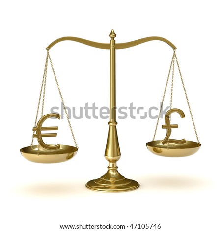 classic scales of justice with euro and british pound symbols,  isolated on white background