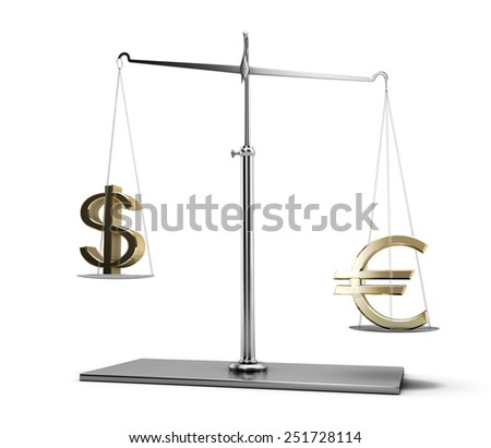 Classic scales of justice with euro and dollar symbols isolated on white background
