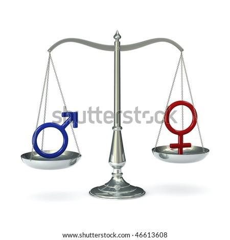 Classic scales of justice with male and female gender symbols, isolated on white background - stock photo