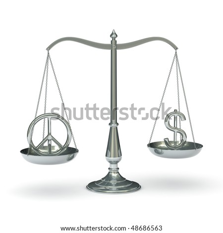 classic scales of justice with peace and dollar symbols, isolated on white background