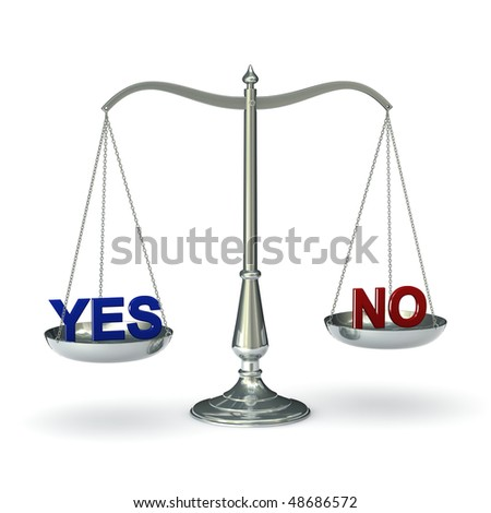 classic scales of justice with words YES and NO, isolated on  white background - stock photo