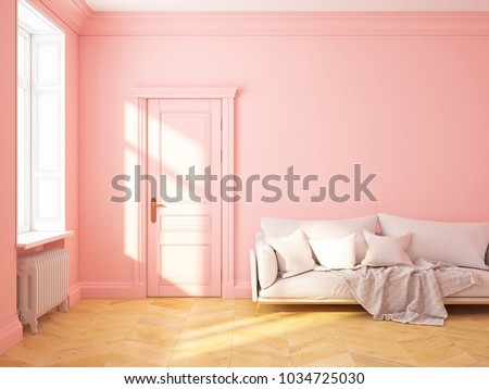 Classic Scandinavian Interior Design Pink Roze Stock Illustration ...
