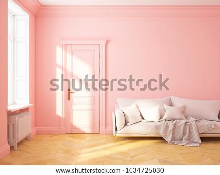 Classic Scandinavian Interior Design Pink Roze Stock Illustration ...
