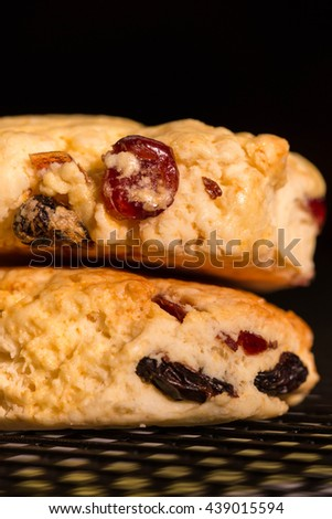 Classic Scone. English Scones, Original Homemade Fresh Baked on Cooking Rack. Close up Selective Focus. Black, Background and Textures.