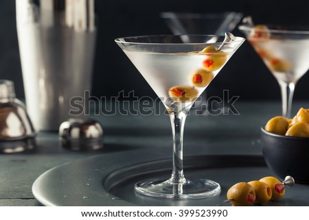 Classic Shaken Dry Vodka Martini with Olives - stock photo