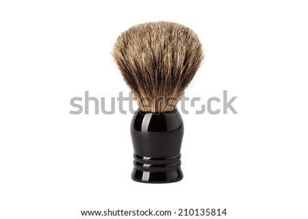Classic shaving brush with raccoon fur (isolated on white) - stock photo