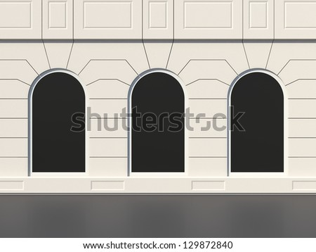 Classic shop building facade with large windows - stock photo
