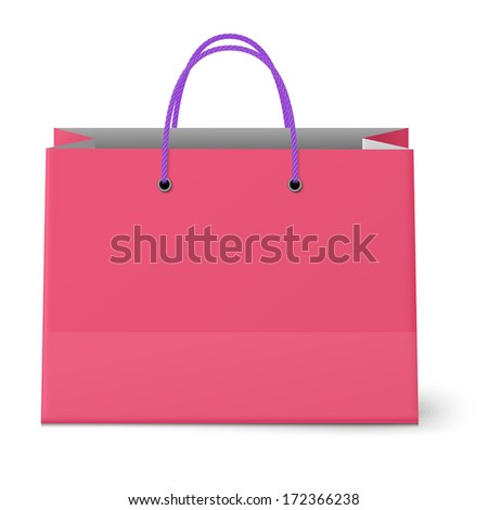 Classic shopping pink bag with violet grips isolated. Raster version illustration.