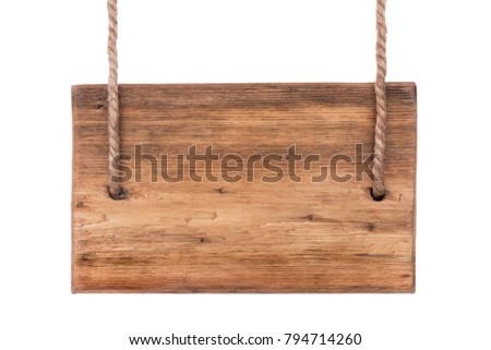 Classic sign, pointer made of blackboard, isolated on white background. Hanging on two ropes