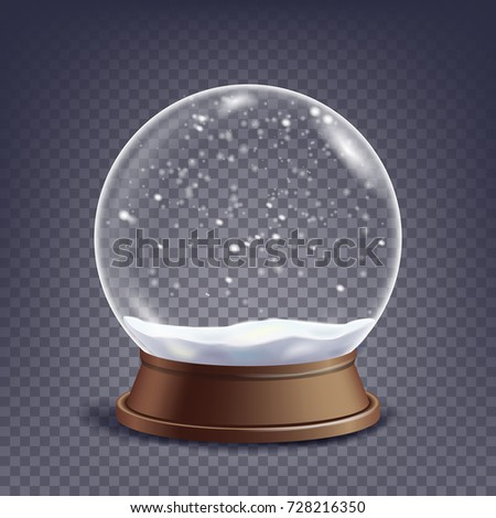 Classic Snow Globe Glass Sphere With Glares And Gighlights. Isolated On Transparent Background Illustration