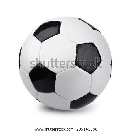 Classic soccer ball isolated on white - stock photo