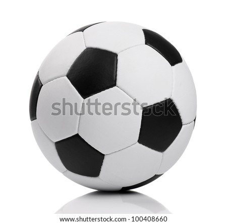 Classic soccer ball - isolated on white background - stock photo
