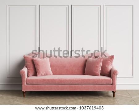 Classic Sofa Classic Interior Copy Space White Stock Illustration ...