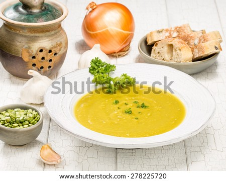 Classic split pea soup with fresh bread