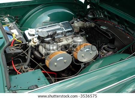 Classic sport car engine - stock photo