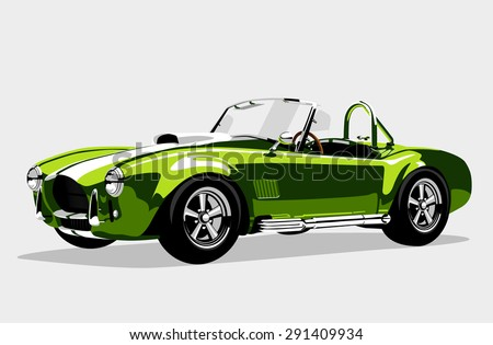 Classic sport green car  - stock photo
