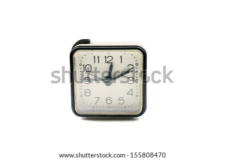 Classic square alarm clock isolated on white background