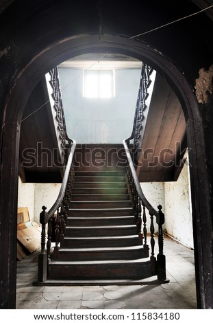 classic staircase, high dynamic range processing - stock photo