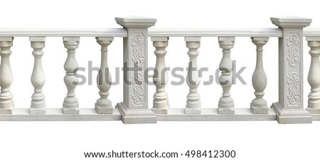 Classic stone balustrade with column isolated over white background