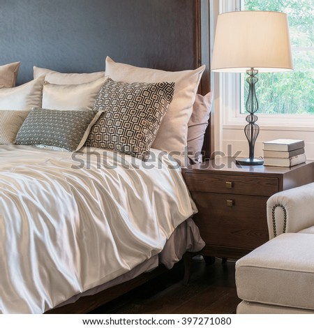classic style bedroom interior with luxury decoration - stock photo