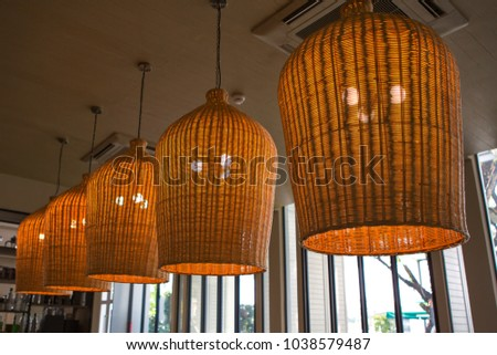 Bamboo ceiling light stock images royalty free images vectors classic style chandelier lighting decor on ceiling made from bamboo aloadofball Image collections