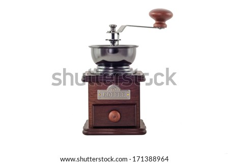 classic style coffee grinder isolated in white background