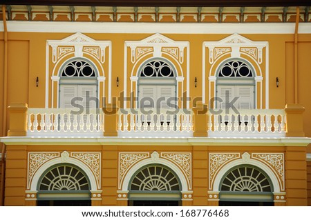Classic style gate and window of old building ,Bangkok Thailand - stock photo