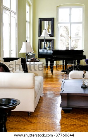 Classic style living room interior with piano