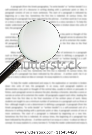 Classic style magnifying glass focusing on the document, concept of searching for answer, solution or knowledge. use as background and enter your text on the glass. - stock photo