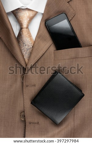 Classic style men's fashion, tie, shirt, telephone, as background - stock photo