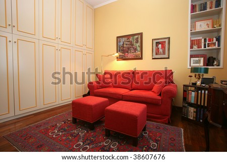 Classic style study with built-in wardrobe and sofa