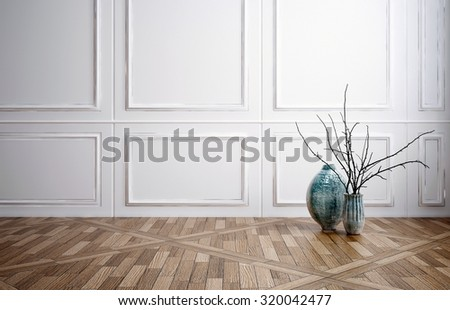 Superb Classic Stylish Room Interior Decor With Wooden Wainscoting Panelling, A  Decorative Patterned Parquet Floor And