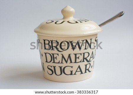 Classic Suger Bowl with Spoon Front View