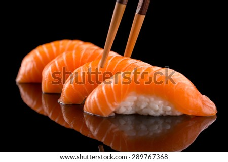 classic sushi with salmon - stock photo