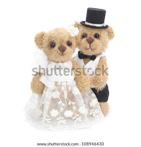 Classic teddy bear gentleman and his bride - stock photo