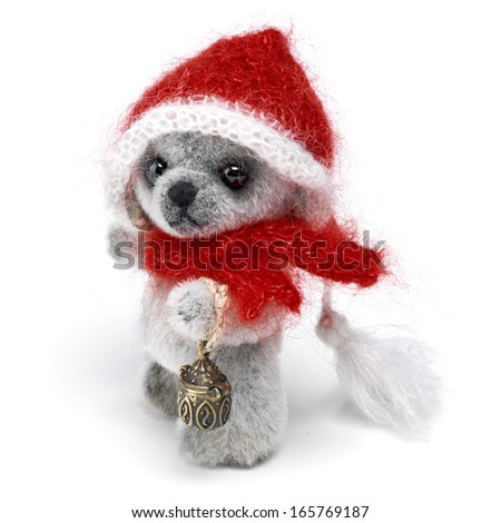 Classic teddy bear in holiday wear