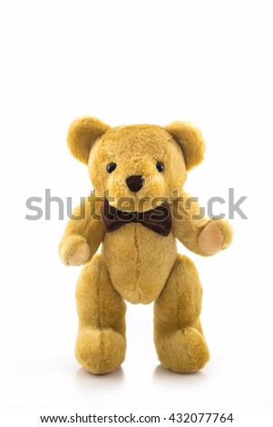 Classic teddy bear isolated on white background. Brown teddy standing on its feet. - stock photo
