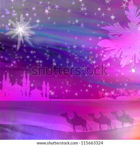 Classic three magic scene and shining star of Bethlehem - stock photo