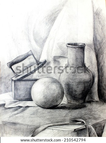 Classic training graphic still life with various objects - iron,white ball and a clay jug on the draperies. Pencil drawing on paper. - stock photo