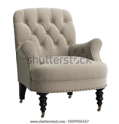 Classic Tufted Chair on white background 3d rendering