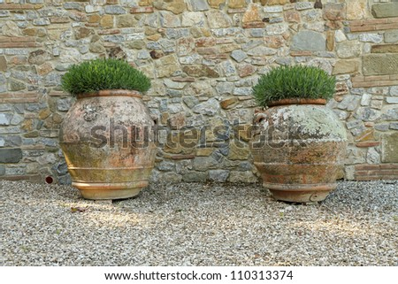 classic tuscan huge  terracotta flower pots, Tuscany, Italy, Europe - stock photo
